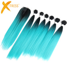 Mint Green Ombre Color Synthetic Hair Bundles With Lace Closure 14-18inch 6 Bundle X-TRESS Yaki Straight Hair Weaving Extensions(China)