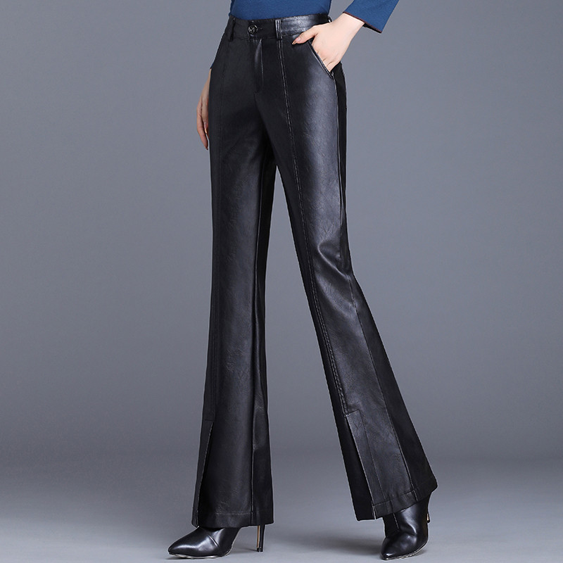 Women Pants Fashion High Waist PU Leather Pants Trousers Flare Pants Faux Leather Spring Black Plus Size Vintage Loose Pants