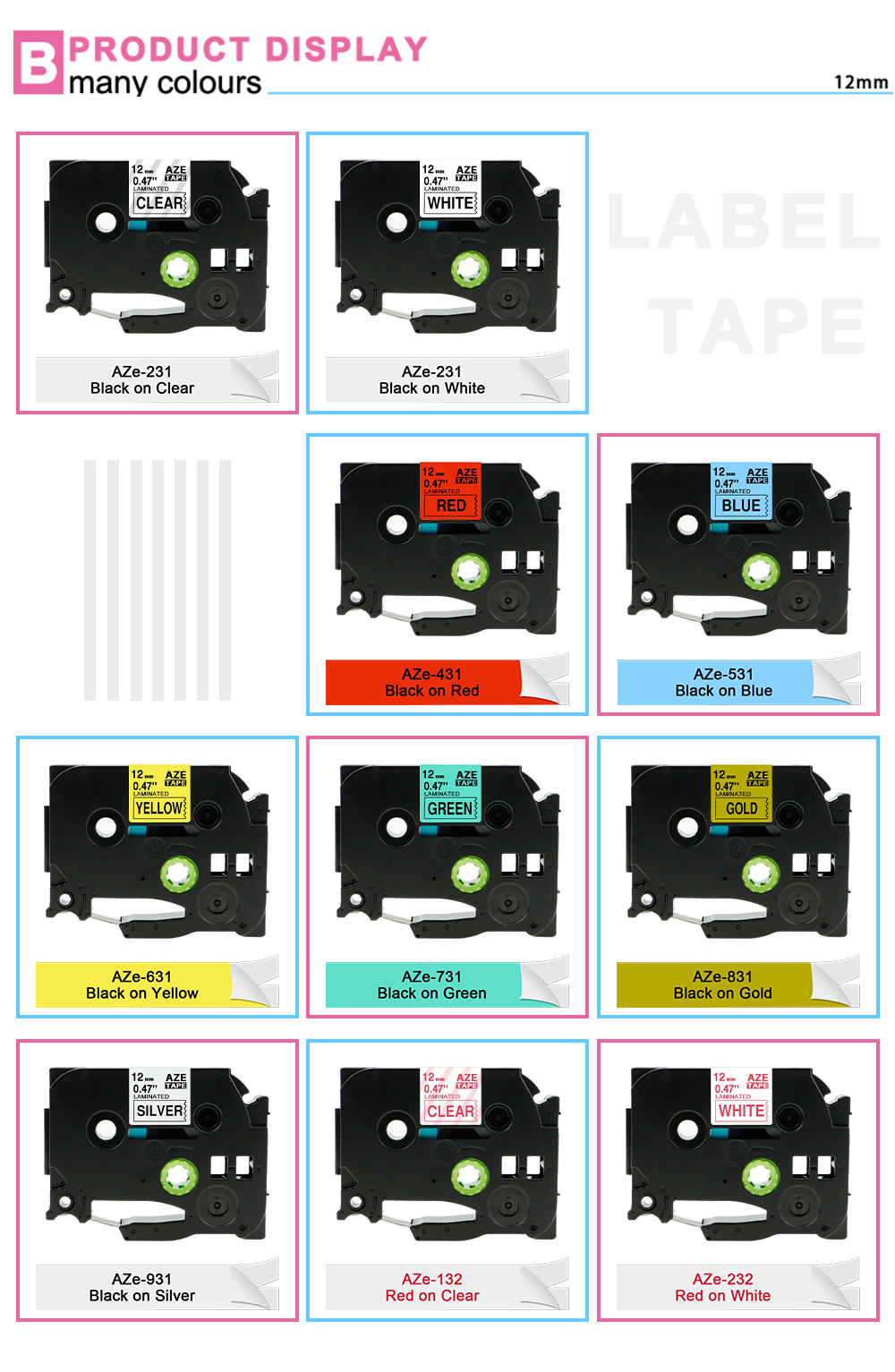 IsMyStore: Labelife TZe231 31 Colors label tape Compatible Brother P-Touch label printer PT-D200 PT-D210 12mm Laminated Tape