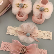 3Pcs/Set Lace Flower Baby Girl Headband Socks Set Crown Bows Newborn Hairband Headbands