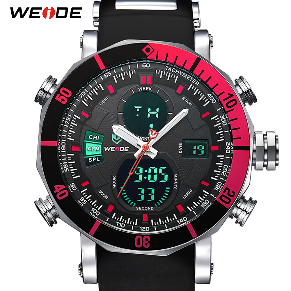 WEIDE Men Watch Chronograph Stopwatch Repeater Automatic Date Alarm Analog Quartz Digital Relogio Masculino Watch Men's Watches
