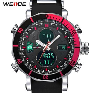 Image 1 - WEIDE Men Watch Chronograph Stopwatch Repeater Automatic Date Alarm Analog Quartz Digital Relogio Masculino Watch Mens Watches