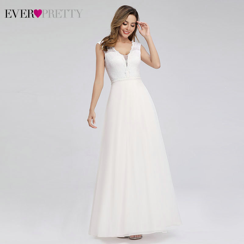Image 4 - Elegant Lace Wedding Dresses Ever Pretty EP00811WH A Line V Neck Simple Beach Style Formal Bride Dresses Vestido De Novia 2019-in Wedding Dresses from Weddings & Events