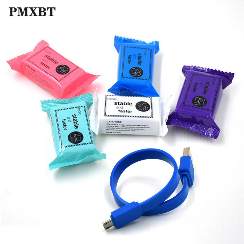Mini <font><b>Short</b></font> <font><b>USB</b></font> Charger <font><b>Cable</b></font> Micro 20cm Flat Candy Color Charging Data Sync <font><b>Cable</b></font> For iPhone Type C Android Cellphone <font><b>USB</b></font> C Cord image