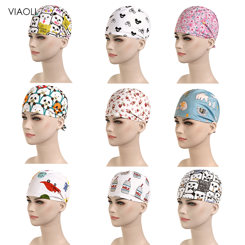 Wholesale Pink Print Surgical Caps/hat Pet Doctor Hat Dentist Hat Print Girl Nurse Accessories Wholesale Prices Women Scrubs Hat
