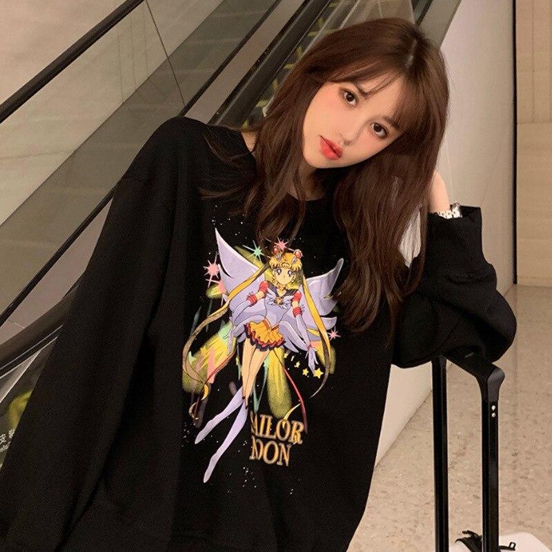 round neck friends black sailor moon hoodie oversized korean hoodies for women sweatshirt cartoon large loose regular harajuku