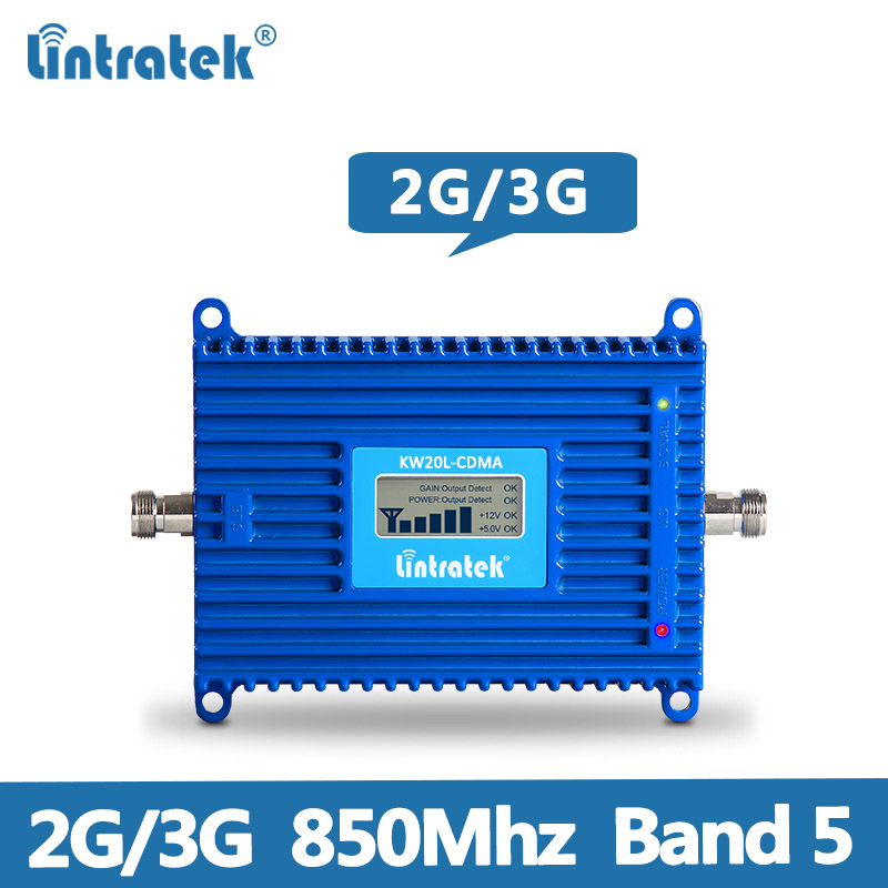Lintratek AGC Repeater CDMA 850MHz Signal Booster 2G 3G UMTS Band 5 Signal Amplifier 850 Repeater 70dB 20dBm KW20L-CDMA