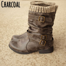 Купить с кэшбэком freeshipping2019 winter boots women wool thick heel long tube low heel belt buckle solid color fashion casual trend leatherboots