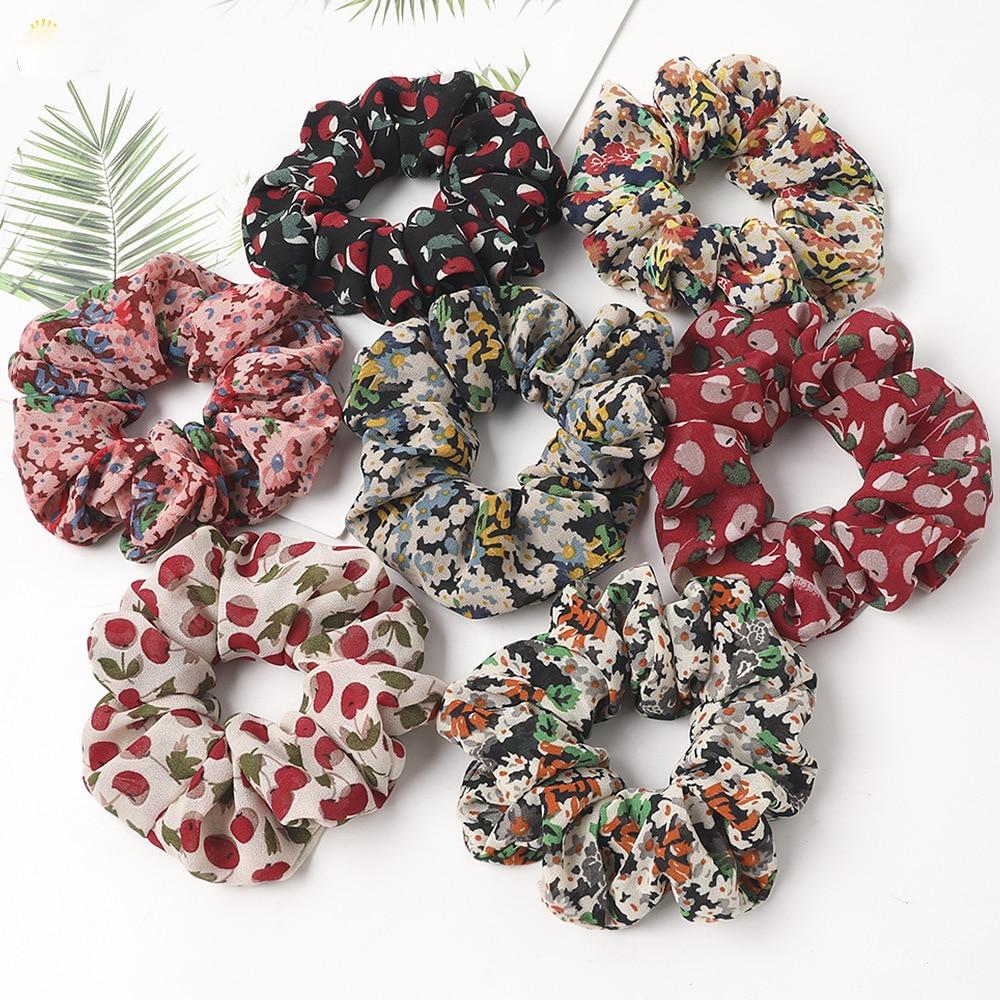 LOVINGSHA Floral Hair Accessories Ladies Women Hair Tie Striped Lady Scrunchies Ponytail Hair Female Girl Holder Rope FC158