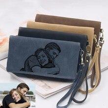 Spersonalizowane zdjęcie portfel osobowość moda damska długi duży pojemność syntetyczna skóra kopertówka z podwójnym zamkiem prezent na dzień matki