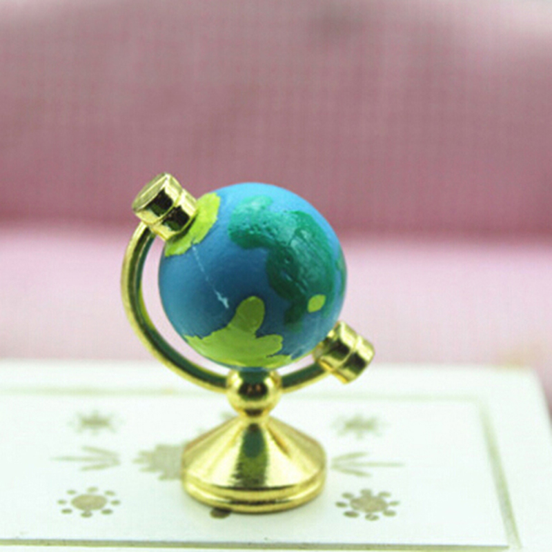 Dollhouse Rolling Globe With Stand 1:12 Miniature Dollhouse Study Livingroom Bedroom Reading Room Furniture Accessory