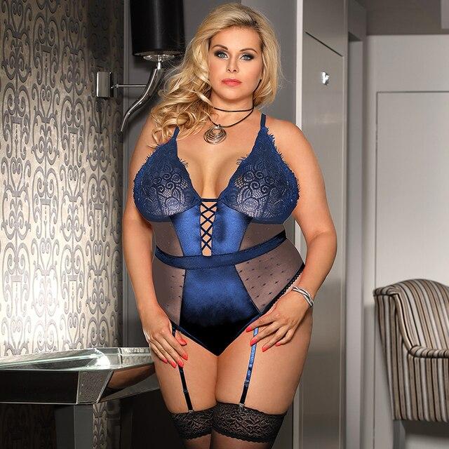 Sexy Transparent Teddies Bodysuit Lace V Neck Plus Size Lingerie Set #P1619 3
