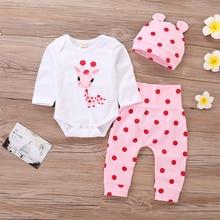 Polka Dot Newborn Clothes Girl Baby Fall Clothing Set 3Pcs Cartoon Print Bodysuit+Pink Pant+Cute Hat 2019 D35