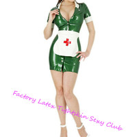 Latex Rubber Cosplay Costome Nurse Dress& Apron Latex Uniform Sets women sexy Skirts Front Button halloween costumes for women