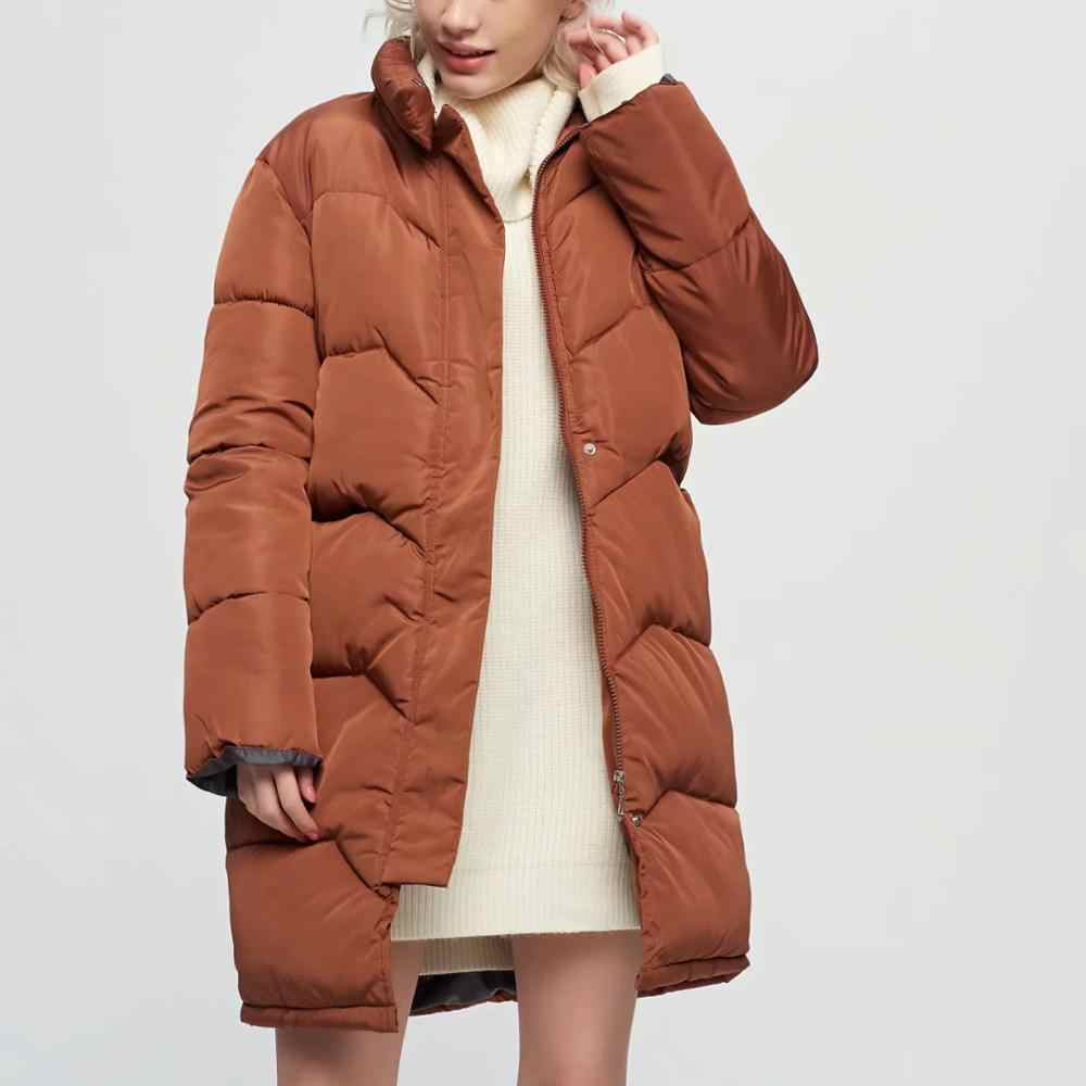 ZA New Women's down cotton-padded jacket Outwear for women mid long Winter puffy cotton coat Casual Warm Parka female