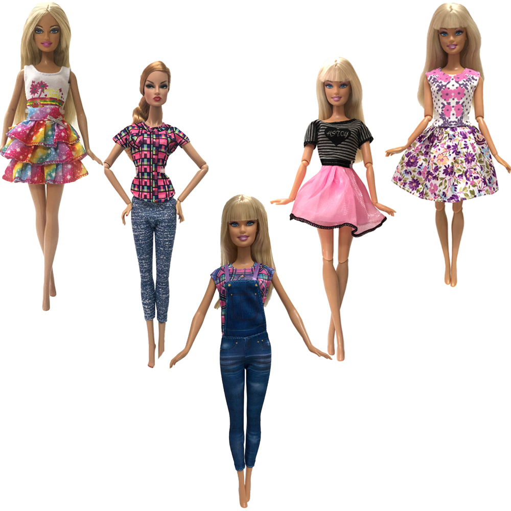 NK 5 Pcs/Set  Doll Dress Fashion Outfit  Casual Style Clothes Skirt  For Barbie Doll Accessories Girls Gift  Toys 24A 3X