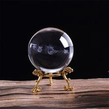 3D Solar System Crystal Ball Planets Glass Ball Laser Engraved Globe Miniature Model Home Decor Astronomy Gift Ornament(China)