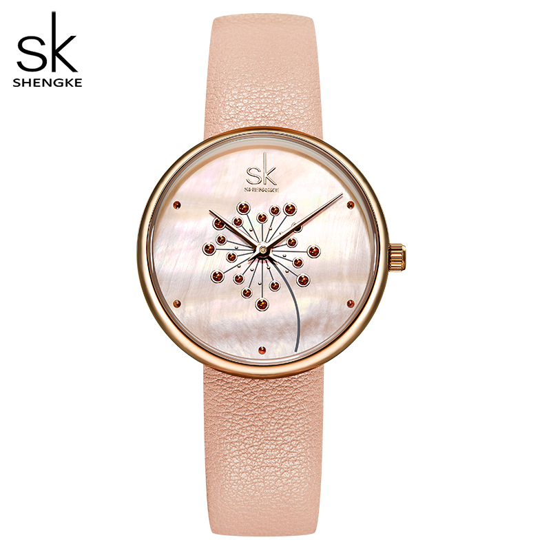 Shengke New Fashion Watch Women Shell Flower Dial Pink Leather Fresh Style Youth Ladies Clock Japanese Movement Montre Femme