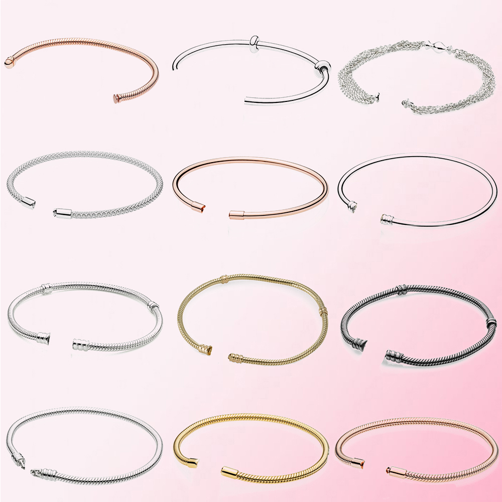 100% 925 Sterling Silver 1:1 Basic Bracelet Chain Can Be Freely Matched With Chain Buckle Original Jewelry Women Gift