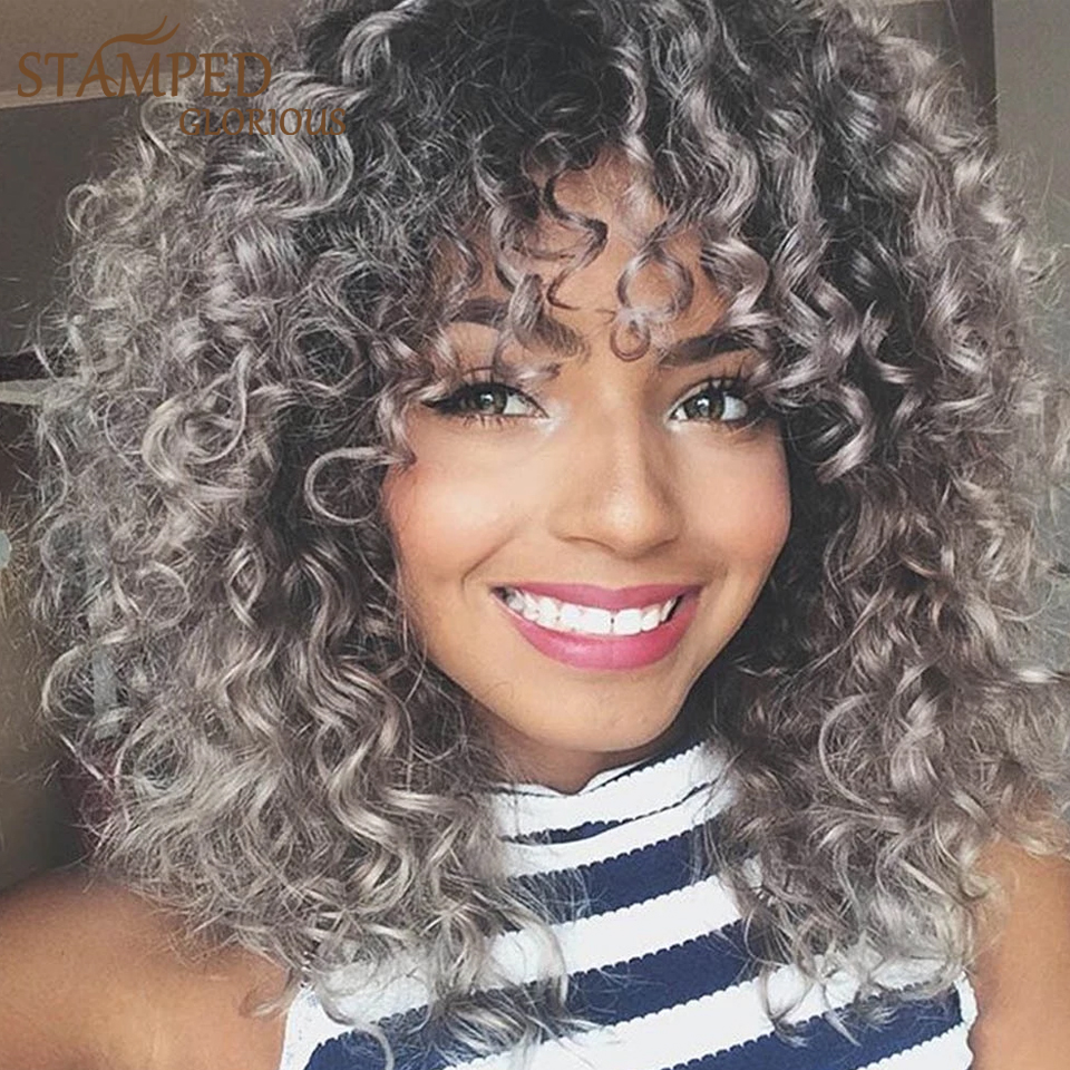 Encaracolada com Franja Cinza e Preta para Mulheres Peruca Afro Gloriosa Sintética Ombré