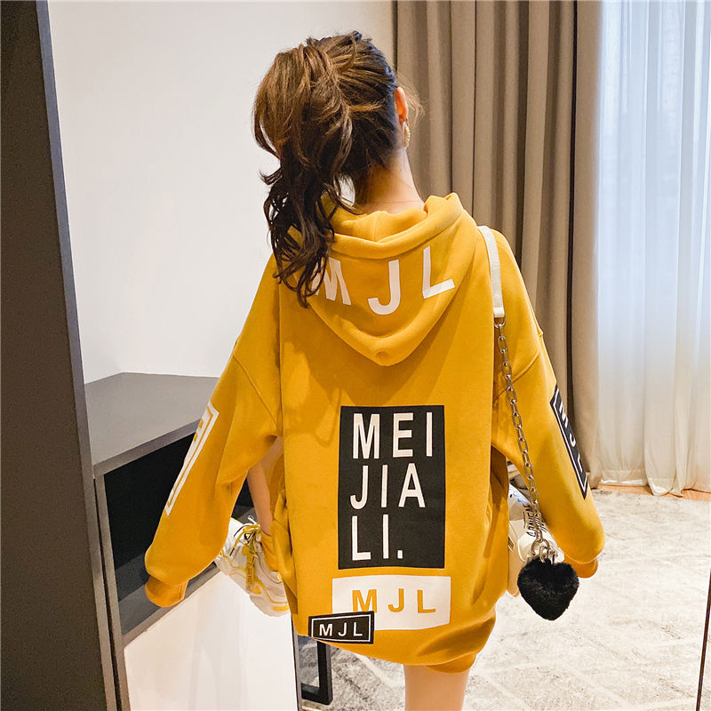 Harajuku Lazy Streetwear Wind Sweatshirt  Women Plus Velvet 2020 Autumn Winter New Letter Printing Tide Coat  Oversized Hoodie
