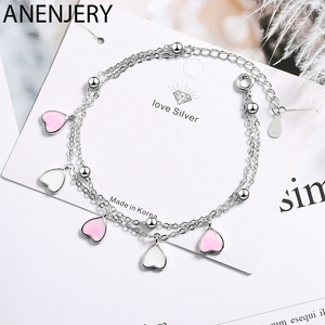 ANENJERY Sweet 925 Sterling Silver Pink Glaze Cherry Blossom Petals Gradient Heart Shaped Double Layer Chain Bracelets S-B262(China)