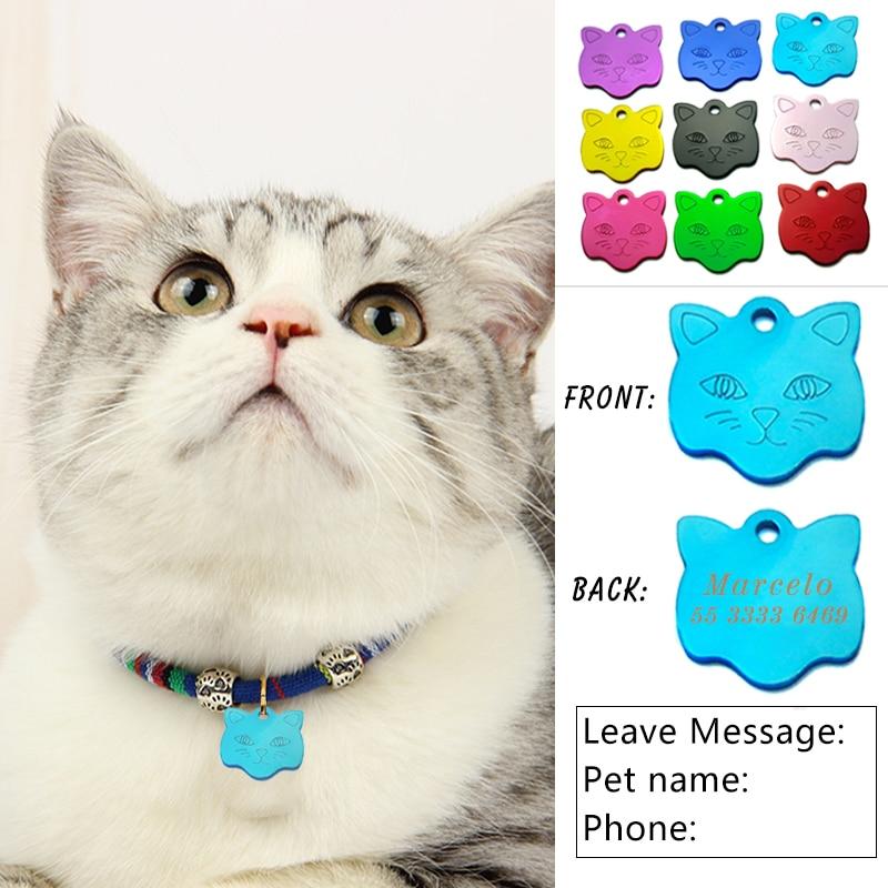 2PCS Custom Engraving Cat Pet Tag aluminum Collar Name Pendant Necklace Collar Puppy Anti-Lost Pet Cat ID Nameplate Accessory