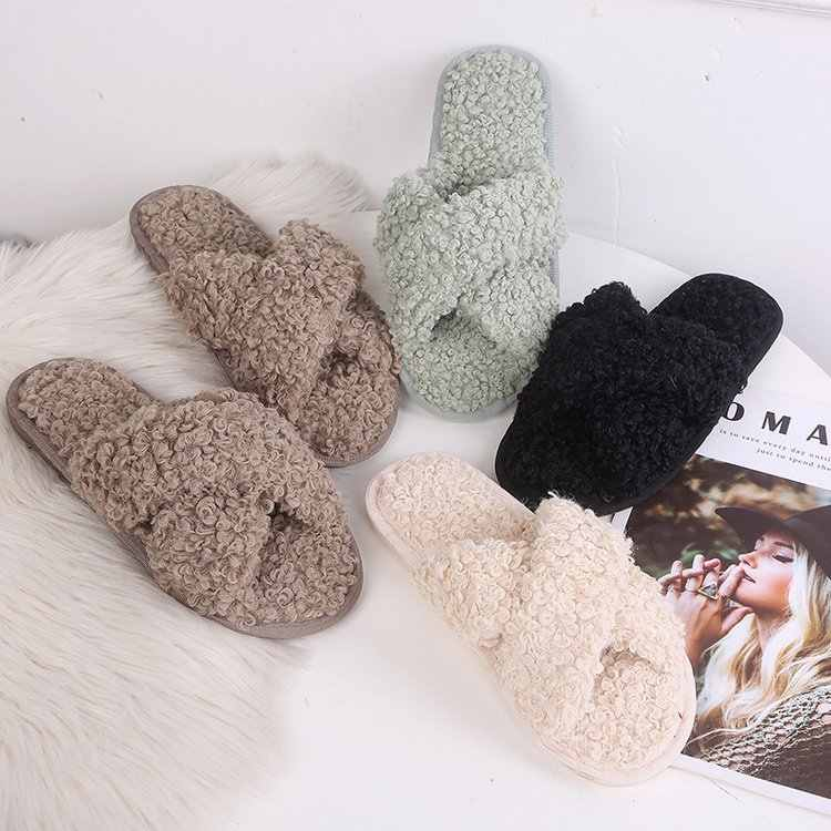 Женские домашние тапочки зимняя теплая обувь женская женские слипоны на плоской