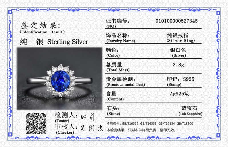 Yanhui Với Giấy Chứng Nhận 2.0ct Hình Bầu Dục Sapphire Vòng Đảng Thanh Lịch Sức Cô Dâu 925 Cưới Bạc Nhẫn Đính Hôn Nữ R345
