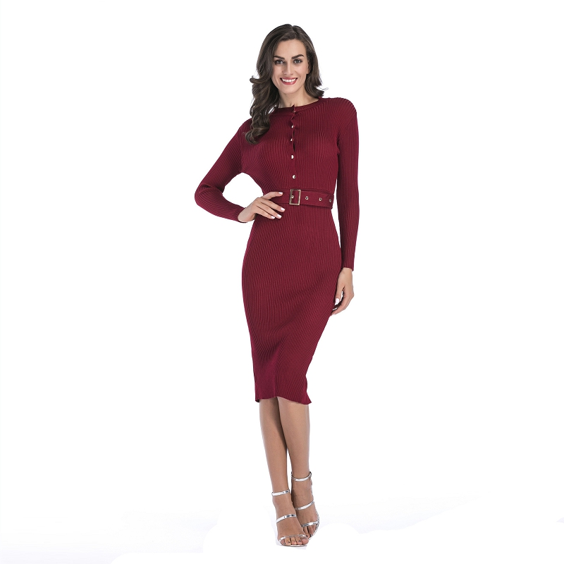 Autumn Long-Sleeved Knit Dress Female Solid Color With Belt Slim Sexy Bag Hip Pencil dress