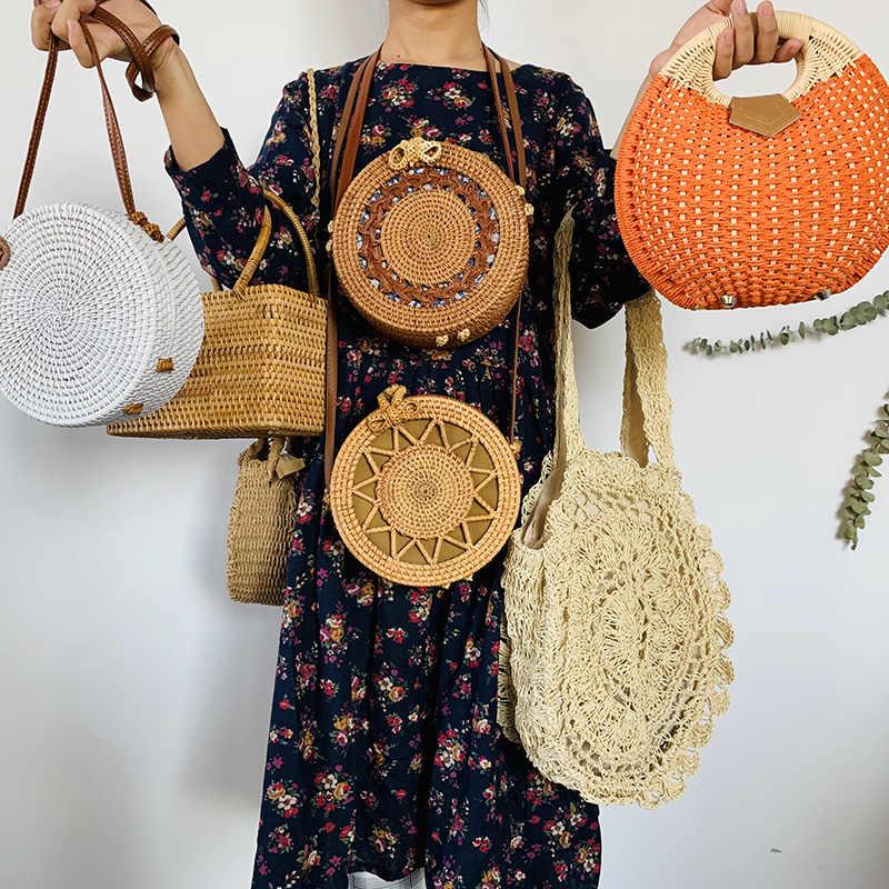 Rodada Sacos De Palha da Praia do Verão das Mulheres Handmade Tecido Pequeno Círculo Rattan Boemia Bolsa de Ombro Corpo Cruz Fêmea Nova Moda