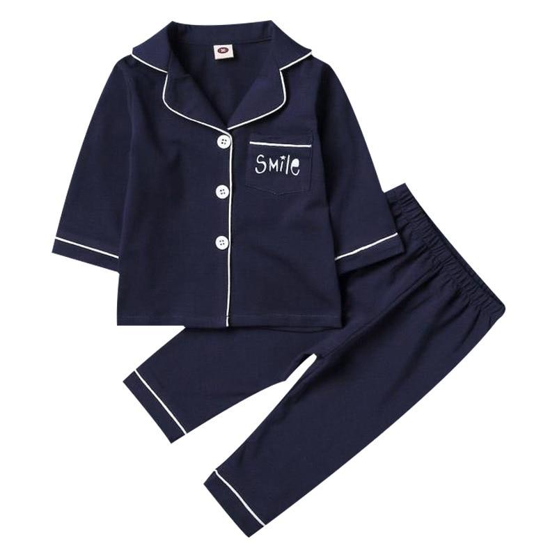 SAILEROAD Children's Long Sleeve Pajamas For Boys Cotton Pajamas Kids Smile Printed Pyjamas Child Sleepwear Set Girls Night Wear