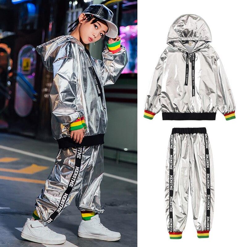 Children'S Hip-Hop Dance Costumes Kids Boys Bright Leather Sweater Pants Suit Jazz Street Dancewear Cheerleading Costume SL2215