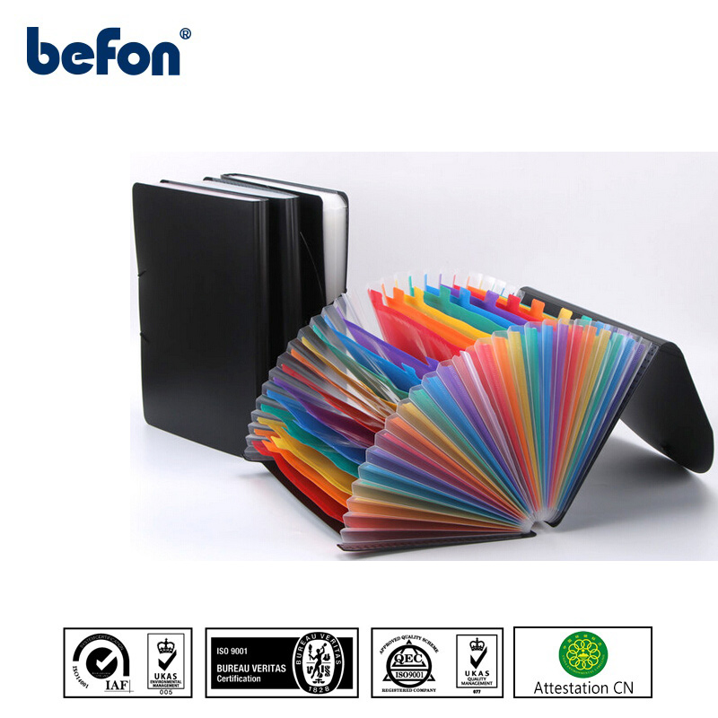 Befon 12/24 Pockets A4 Plastic Expanding Document File Organizer Student Test Paper Folder Office Desk Document Bag Large Case
