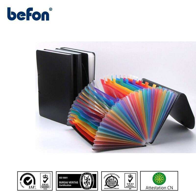 Befon 12/24 Pockets A4 Plastic Expanding Document File Organizer Student Test Paper Folder Office Desk Document Bag Large Case