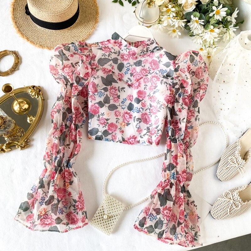 Women Elegant Floral Print Short Design Long Sleeve Back Zipper Blouse Vintage Female Flower Printing Chiffon Tops 2020 Spring