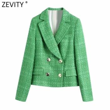 Zevity-Chaqueta de lana de Tweed para mujer, ropa de estilo inglés con doble botonadura, verde, Vintage, manga larga, trajes Chic, Tops CT695
