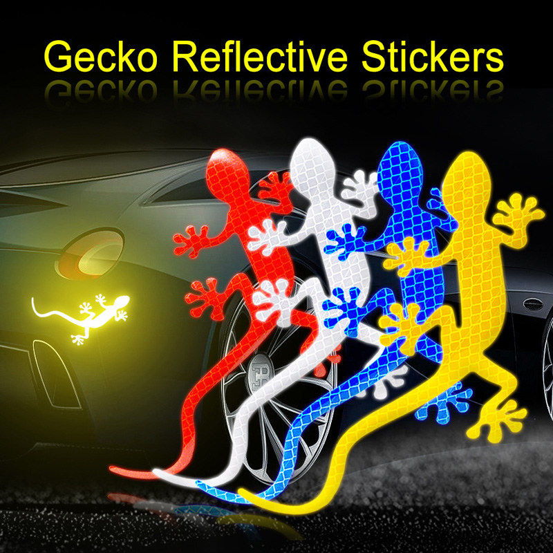 Car Reflective Strips Gecko Shape Warning Tape Reflector Sticker Decals Mark for Night Driving Mark Auto Decor Gecko Reflective