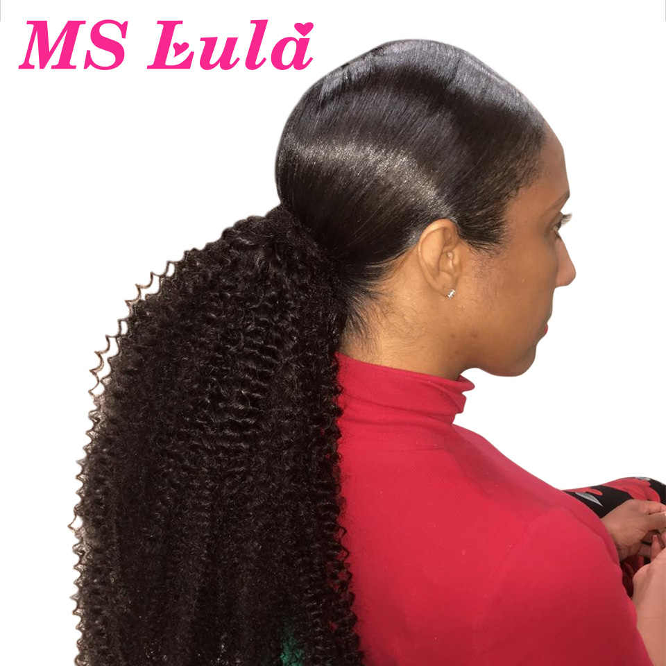 Mslula Afro Kinky Curly Ponytail Clip In Extensions 10-30Inch Brazilian Remy Human Hair Natural Color 1 Piece For Black Women
