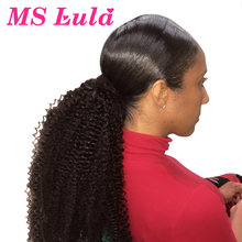 Mslula Afro Kinky Curly Ponytail Clip In Extensions 10-30Inch Brazilian Remy Human Hair Natural Color 1 Piece For Black Women(China)
