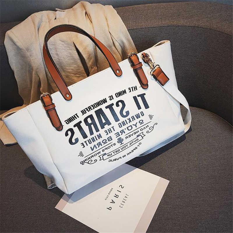 21 CLUBE Marca de Moda Letra Grande capacidade de Lona Das Senhoras Bolsas de Compras Bolsa Das Mulheres Bolsas Femininas Bolsa de Viagem Versátil