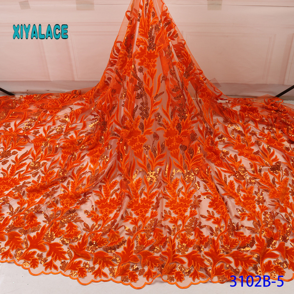 Lace Fabric 2019 High Quality Nigerian Lace Fabric For Women Dress African Tulle Lace With Sequins 5yards Per Piece YA3102B-5