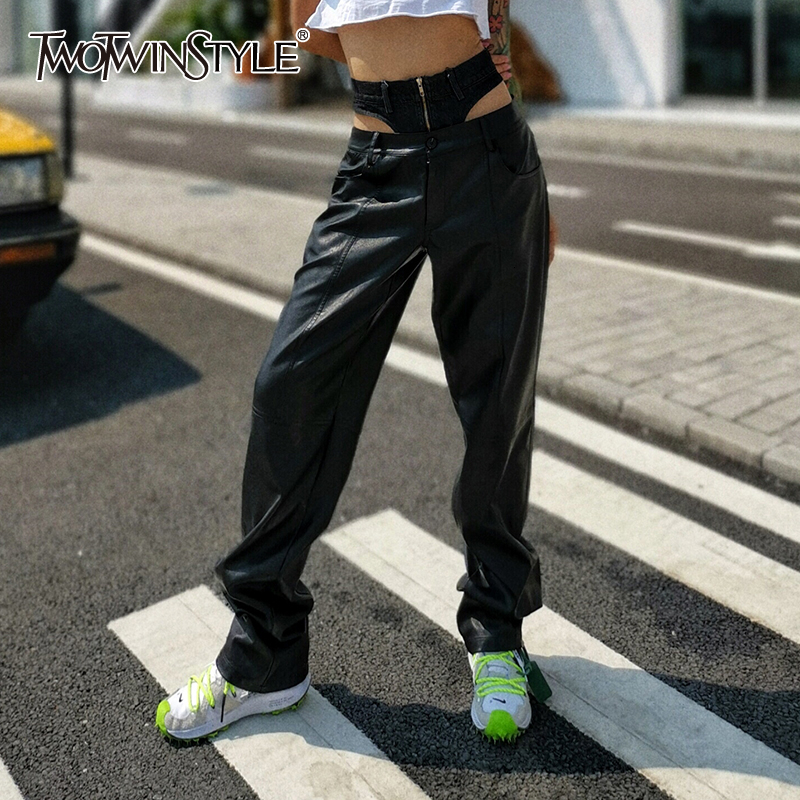 TWOTWINSTYLE PU Leather Patchwork Denim Women's Pants High WaIst Pocket Casual Wide Leg Jeans Female 2019 Autumn Fashion New