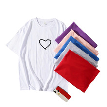 2020 New Women T-shirts Casual Love Printed Tops Tee Summer Female T shirt Short