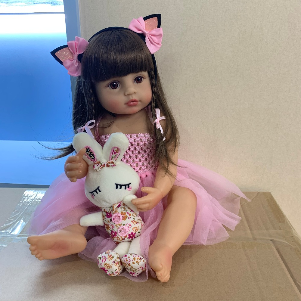 55CM real size  bebe doll reborn toddler girl pink princess bath toy very soft full body silicone girl doll surprice