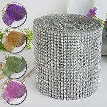 Rouleau de ruban en cristal coloré à mailles et strass, pour décoration de gâteau, anniversaire, mariage, à bricolage soi-même, 24 rangées, 1 rouleau
