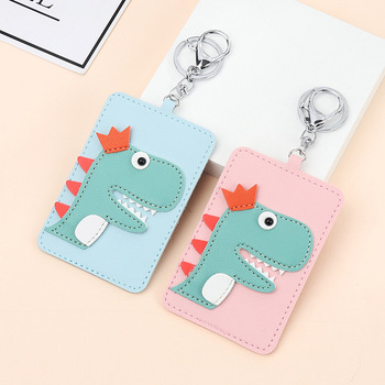 Fresh Cute Dinosaur Card Cover With Keyring Chain Fashion Bags Bank Credit Holder Student ID Bus Pass