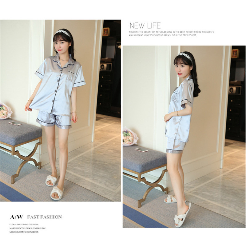 H78524591128249008d1b965ba6395f121 - JULY'S SONG New Spring Summer Women Faux Silk Pajamas Set Simple Pure Color Leisure Nightwear Short Sleeves Sleepwear