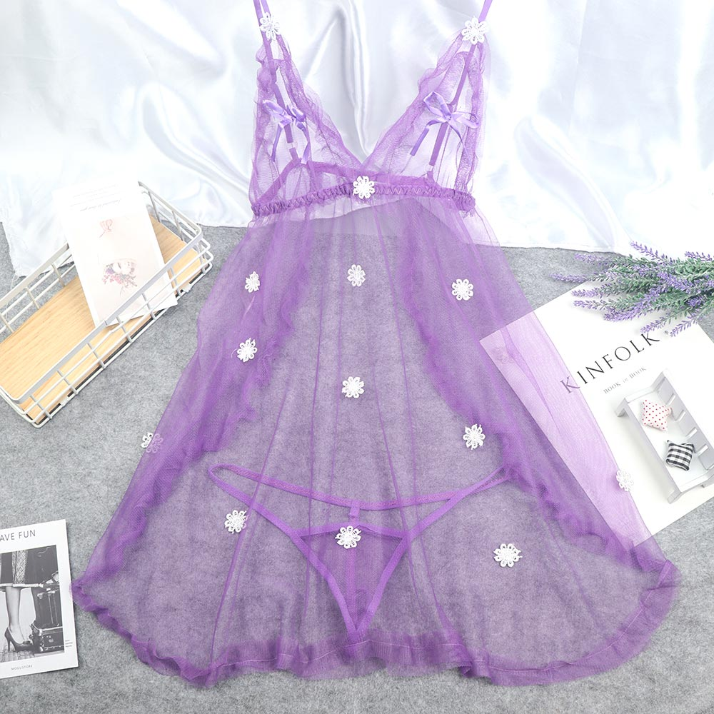 Exotic Nightwear Lace Transparent Underwear Women Lace Night Gown Sleepwear Sexy Lingerie G String Babydoll Dress