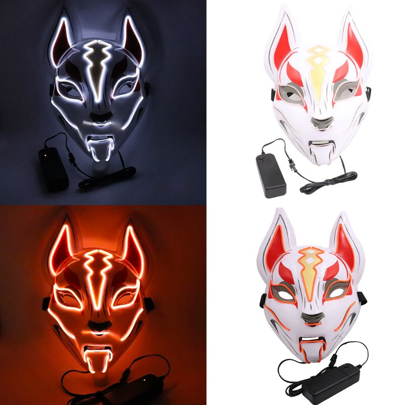 Men Women Halloween Horror Fox Neon Mask EL Wire LED Light Up Cosplay Costume